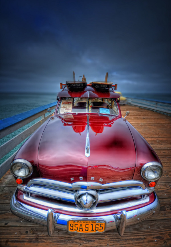 Vintage Ford Woody on Beach Pier at San Clemente, California – USA