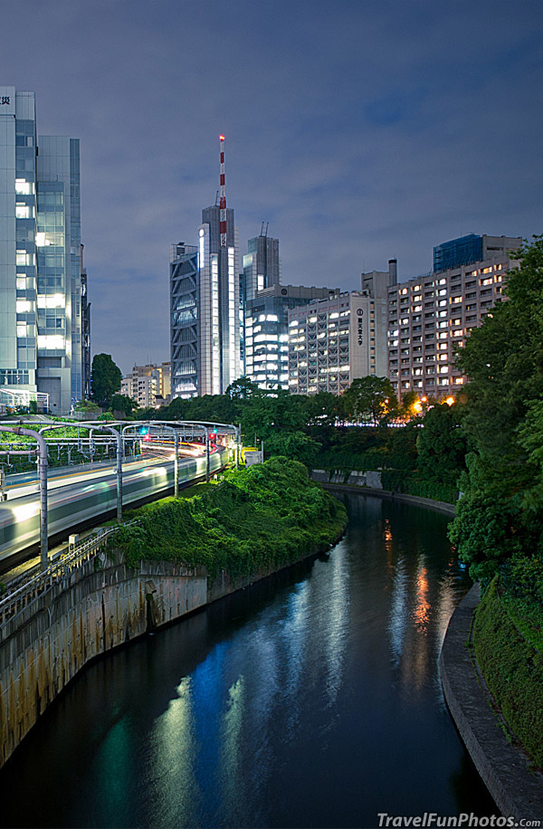 Lights at Night in Ochanomizu, Tokyo, Japan