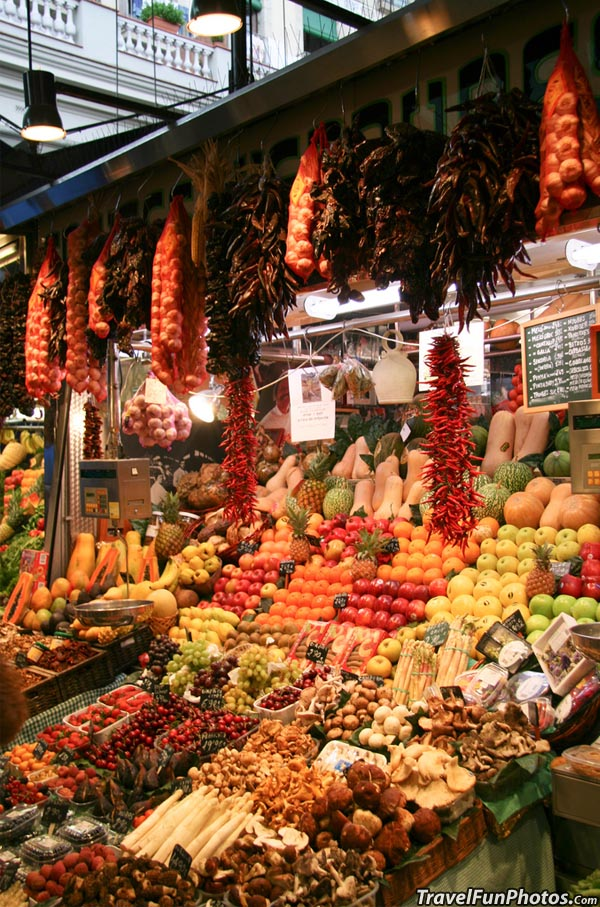Colorful Produce Market in Catalonia, Spain