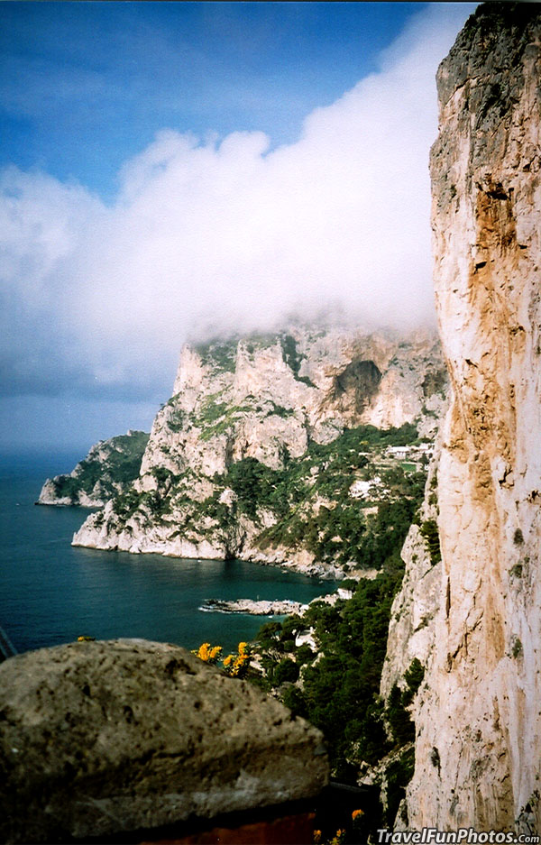 Rock Cliffs & White Clouds of Capri Italy